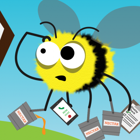 Flexible working film bee graphic