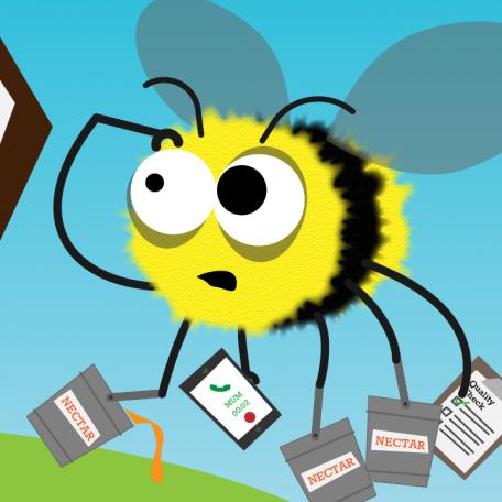 Flexible working film bee graphic
