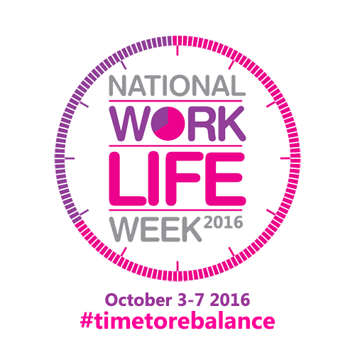 National Work Life Week 2016 logo with hashtag and dates
